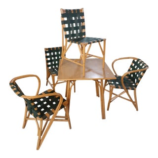 Mid-Century Modern Bamboo Dining Set - 5 Pieces For Sale