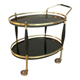 Mid-Century Oval Bar Cart For Sale
