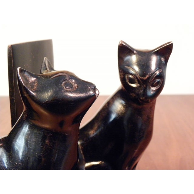 Vintage Mid Century Black Cat Bookends - Pair - Image 6 of 7