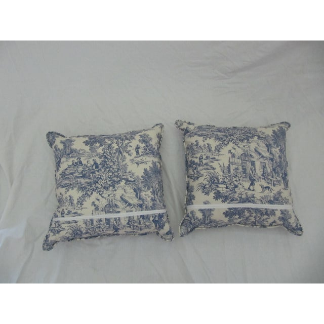 Blue & White Toile De Jouy Pillows - A Pair - Image 4 of 9