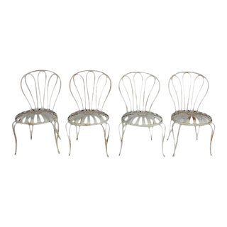 1930s French Sunburst Garden Chairs - Set of 4