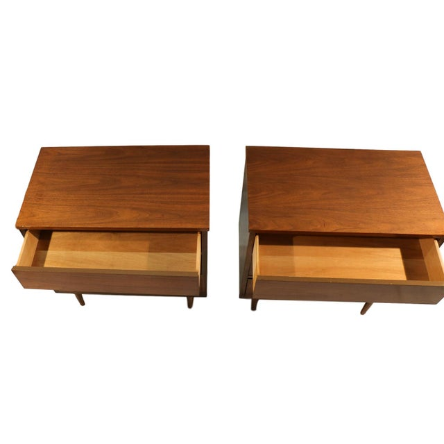Mid-Century Walnut Chest Nightstands- A Pair - Image 3 of 10