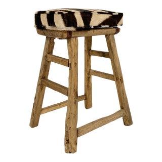 Chinese Elmwood Stool With Zebra Cushion For Sale