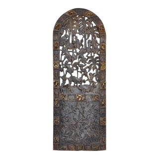 19th Century Antique African Cameroon Royal Door With Pierced Wood Carved Decorations and Bronze Figures For Sale