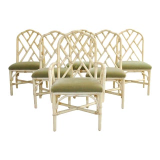 Brown Jordan Bamboo Rattan Dining Chairs - Set of 6 For Sale