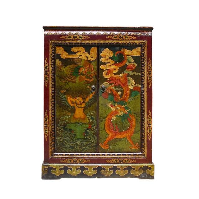 Chinese Tibetan Garuda Dragon Accent Table Cabinet - Image 1 of 4