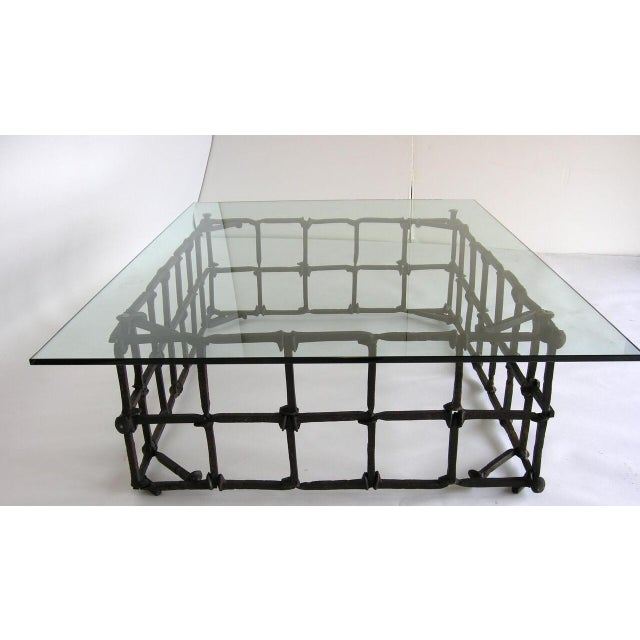 Brutalist Custom Rail Road Spike Coffee Table with Glass Top For Sale - Image 3 of 9
