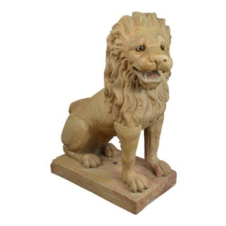 Mid 19th Century French Terra Cotta Lion With Glass Eyes For Sale