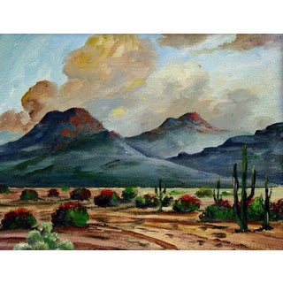 1970s Southwest Mountains & Desert Oil Landscape Painting by M. A. Gomez Montanola For Sale
