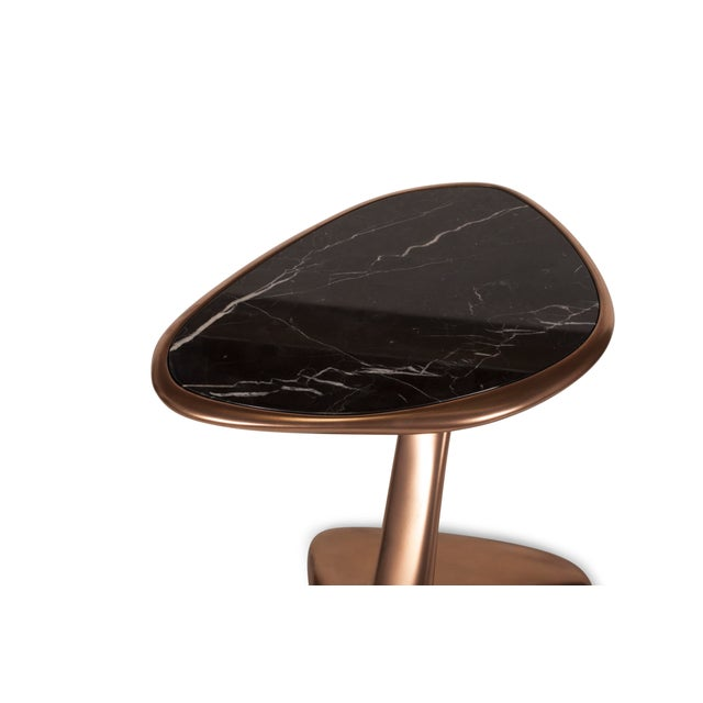 Black Palm Side Table in Bronze Finish With Black Marble Top For Sale - Image 8 of 9