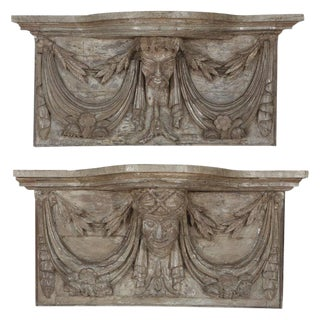 19th C. French Carved Wood Wall Mounted Consoles For Sale