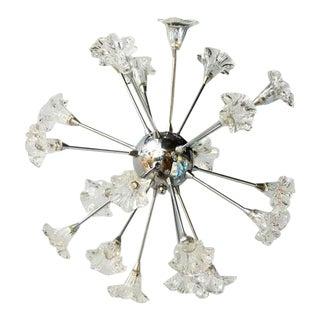 Mid-Century Modern Sputnik Chandelier with Floral Glass