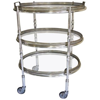 French Silver Plated Three-Tier Bar Serving Cart For Sale