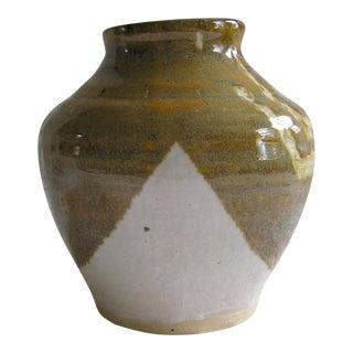 Vintage Handthrown Brown & Ivory Glazed Ceramic Pot Vessel For Sale