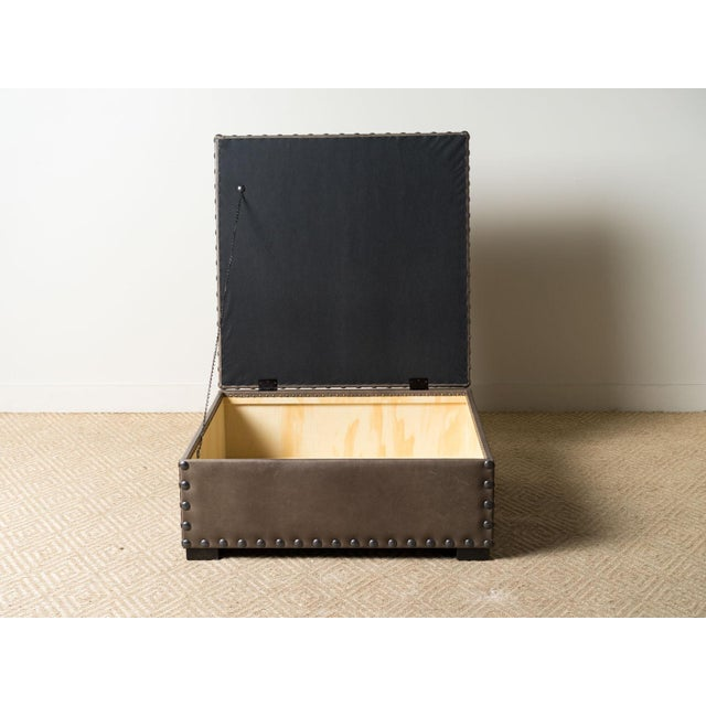 Modern Finneas Leather Ottoman For Sale - Image 4 of 7