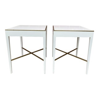 Modern History White and Brass Side Tables - a Pair For Sale