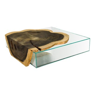 Crosscut Wood Weathered Finish Glass Box Coffee Table For Sale