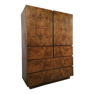 Vintage Mid Century Modern Lane Burl Wood Highboy Dresser. For Sale