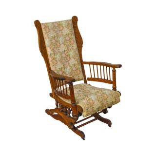 Antique 19th Century Victorian Oak Platform Rocker