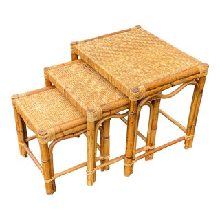 Mid 20th Century Vintage Rattan Nesting Tables - Set of 3 For Sale
