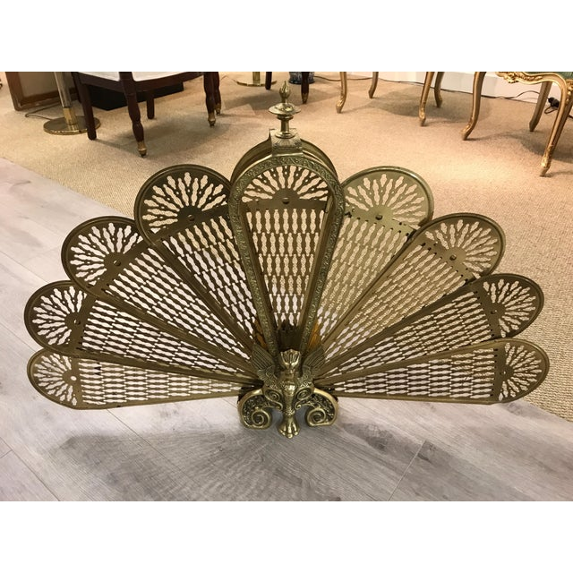 Vintage Brass Fireplace Screen Fan With Phoenix Made In Japan Chairish