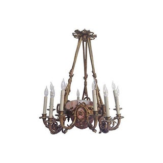 French Alabaster & Bronze Chandelier For Sale