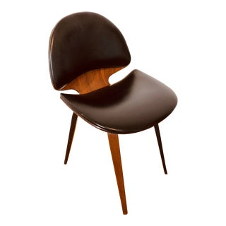 Mid Century Plycraft Naugahyde and Walnut Bentwood Office Chair For Sale
