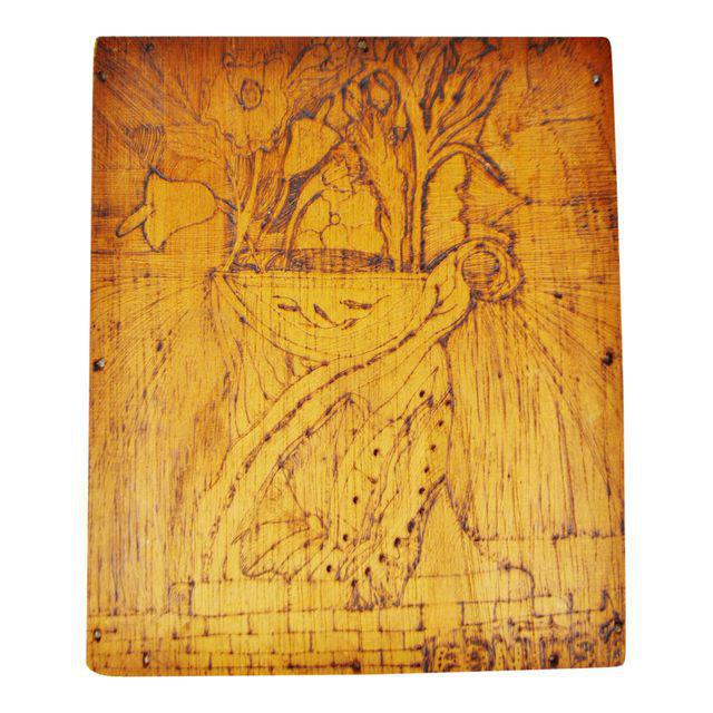 Vintage Pyrography Floral Wall Art For Sale - Image 11 of 11