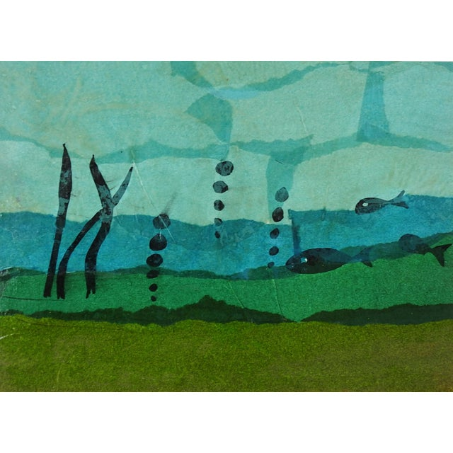 Abstract Mid 20th Century Fish & Ocean Floor Collage For Sale - Image 3 of 3