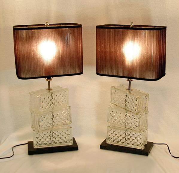 Recycled Glass Brick Table Lamp A Pair Chairish