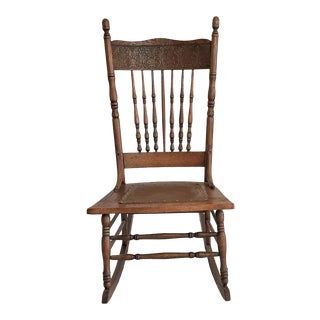 Vintage 1890s Pressed Back Oak Rocking Chair