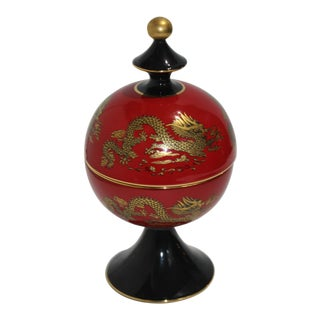 Chinese Emperor Dragon Motif Red Terra Cotta Footed Round Box From Heygill Italy For Sale