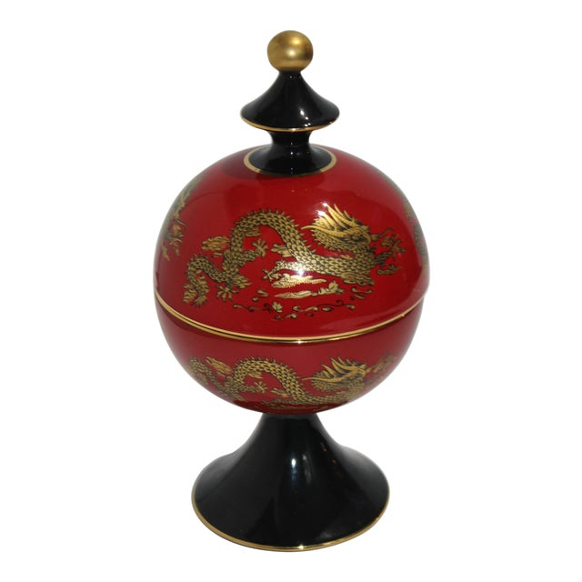 Mid-Cnntury Chinese Emperor Dragon Motif Red Footed Round Box From Heygill Italy For Sale
