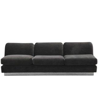 1970s Vintage Dunbar Dark Brown Mohair Sofa For Sale