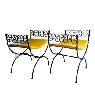Arthur Umanoff Wrought Iron Stools - A Pair