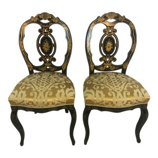 Antique Oval Back Gilt Over Laquer Chairs, a Pair For Sale