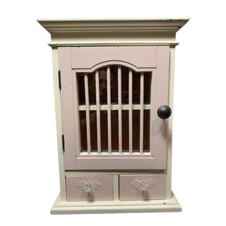 20th Century Shabby Chic Painted Wood Cabinet With Drawers For Sale