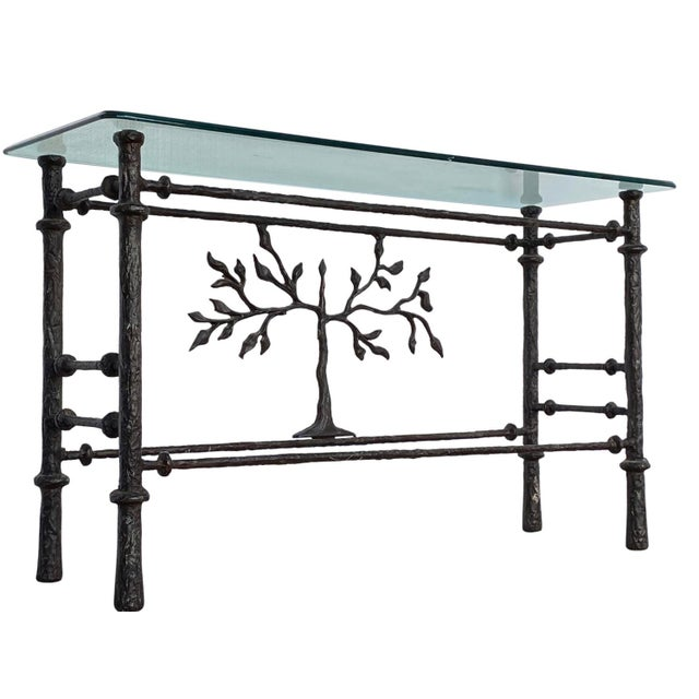 Brown 1970s Giacometti Style Welded Metal & Glass Console Table For Sale - Image 8 of 8