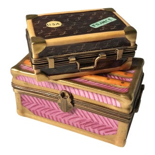 1980s Peint Main Limoges Suitcase Boxes - A Pair For Sale
