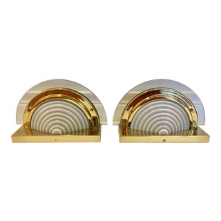 Contemporary Half Moon Brass and Glass Wall Sconces- a Pair For Sale