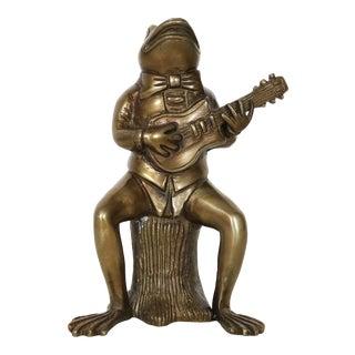 Vintage Bronze Frog Holding a Guitar Figurine For Sale