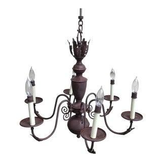 Mid-Century Six Light Bronze Metal Chandelier For Sale