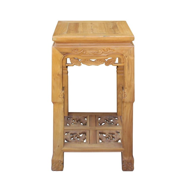 Chinese Square Carved Wood Pedestal Plant Stand - Image 2 of 6