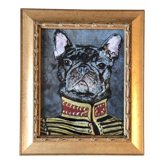 "French Bull Dog Print by Contemporary Artist Judy Henn ""Military Frenchie "" For Sale"