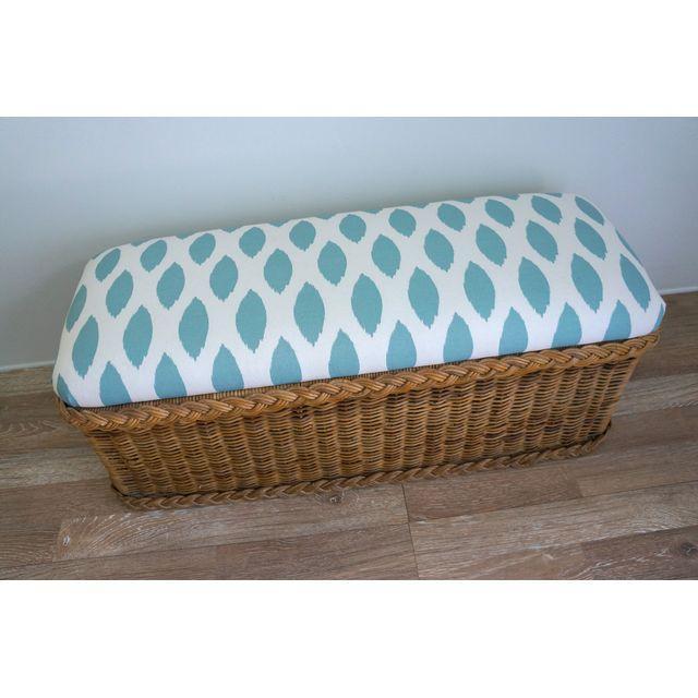Vintage Upholstered Wicker Bench - Image 4 of 5