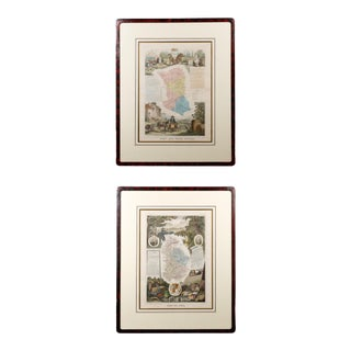 Mid 19th Century Atlas National Illustre Regional French Maps, Framed - a Pair For Sale