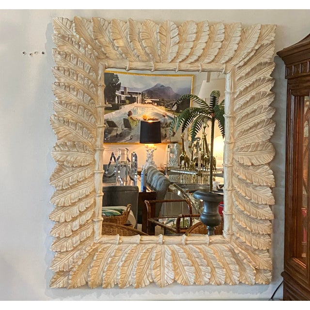 1980s Vintage Tropical Palm Tree Leaf Leaves Faux Bamboo Wall Mirror For Sale - Image 5 of 9