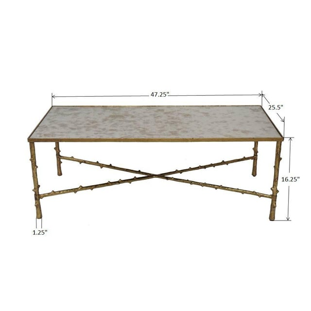 Gold Contemporary Glostrup Coffee & Side Table Combo Set, Mirrored Top, Accent Home Furniture, Living Room, Gold Leafing Finish For Sale - Image 8 of 8