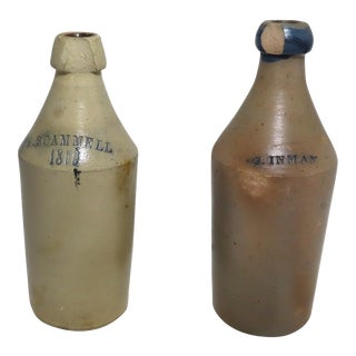 Antique American Country Primitive Stoneware Ale Bottles a Pair For Sale