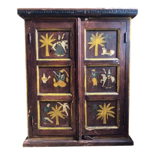 20th Century Indian Folk Art Hand-Painted Cabinet For Sale